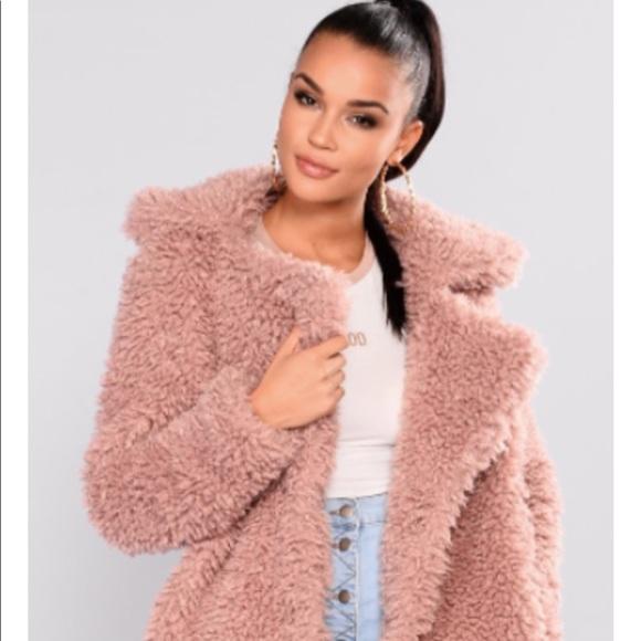 522078c6f3db Fashion Nova Jackets & Coats | Fuzzy Blush Pink Teddy Bear Jacket M ...